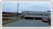 Bedford-bound train crossing Hartwell Avenue in Lexington, March 1975